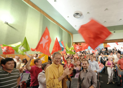 Francisco Louça e José Gusmão no comício do Entroncamento - foto de Paulete Matos