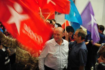 Miguel Portas na festa do Bloco. Foto de Paulete Matos