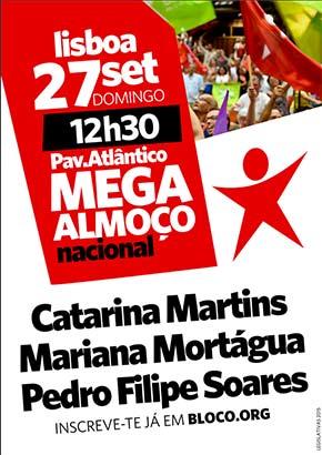 Mega Almoço Nacional do Bloco de Esquerda 27 set 12h30 Pavilhão Atlântico
