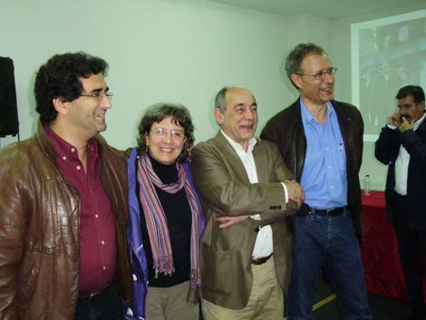 Eduardo Pereira, Alda Sousa, João Semedo e Francisco Louçã no lançamento da candidatura do Bloco em VIla Nova de Gaia